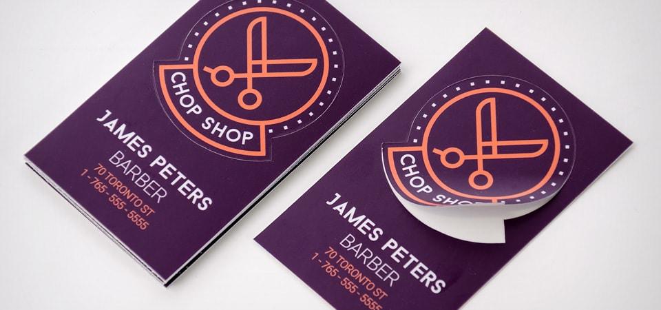 Custom die cut sticker business cards