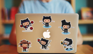 A product use picture from Sticker Mule. In this case: github-laptop-stickers