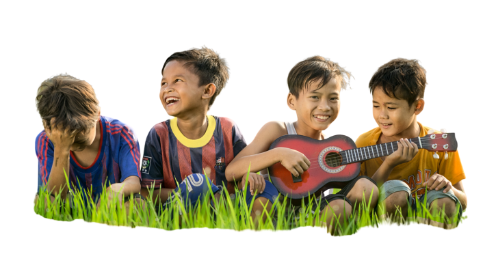 Four young boys sitting and having fun on transparent background
